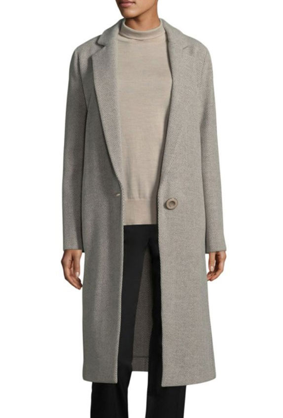 Mandy Moore look for less grey coat