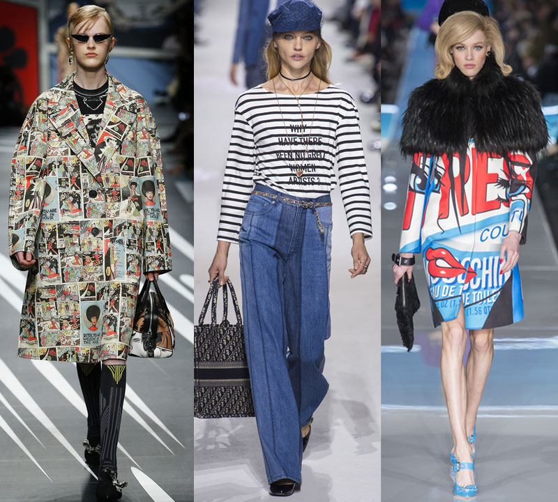 Should women over 40 wear slogans and graphic prints? runway prada spring 18, dior spring 18, moschino fall 18