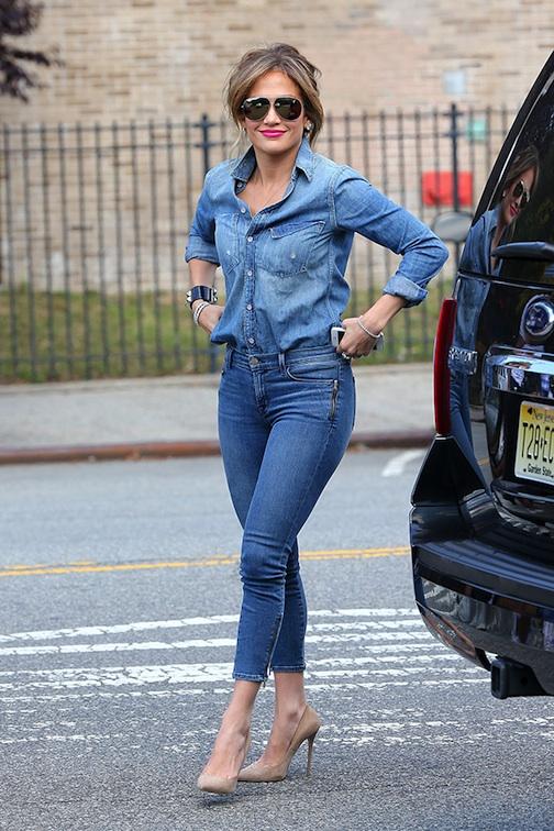 Steal Celebrity Style Jennifer Lopez In Denim On Denim
