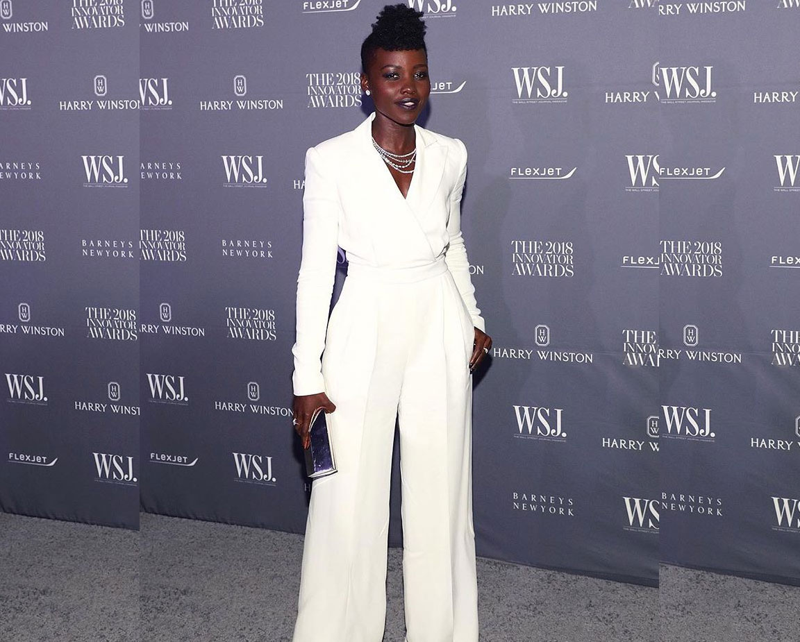 3bd732113a52 Actress Lupita Nyong o shows off a stunning holiday look that any woman can  pull off! Consider a winter white jumpsuit as a go-to fashion piece for  your ...